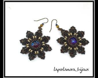 Don'Give up Never earrings, flower earrings, beaded earrings, crystal earrings, pendant earrings, blue earrings, evening earrings
