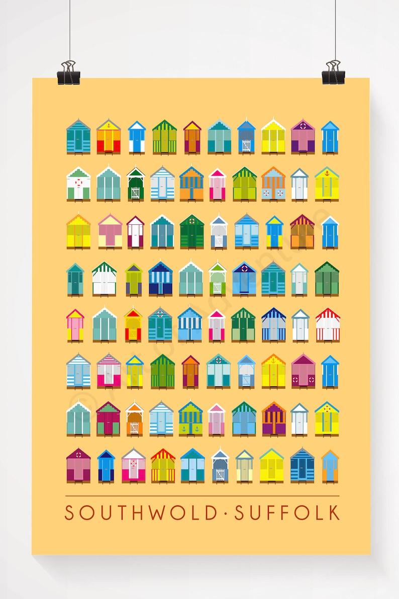 A1 Beach Huts \u2013 Large Poster  A2 A0 Print  Southwold  Suffolk  Pop Art Poster