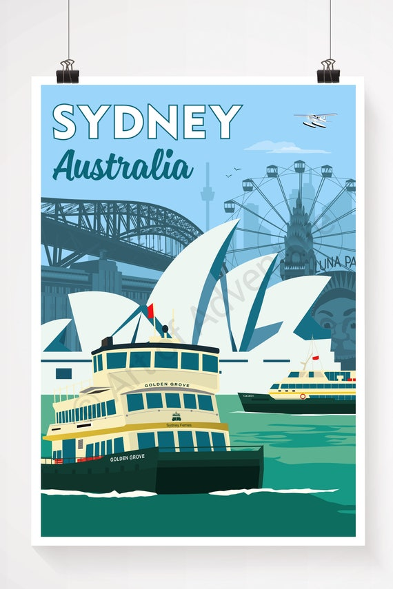 Sydney Australia Poster Print Travel Poster Vintage Etsy