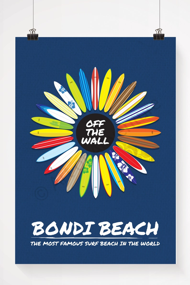 9986d69596d2de Surfboards Bondi Beach Australia Poster   Print   Travel