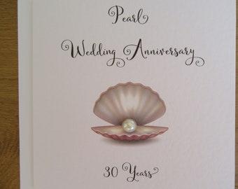 30th anniversary card- pearl- pearl wedding anniversary card - traditional handmade gift - Husband, Wife