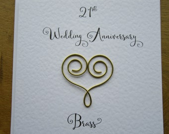 21st Anniversary Card Brass 21 Wedding Traditional Handmade Gift