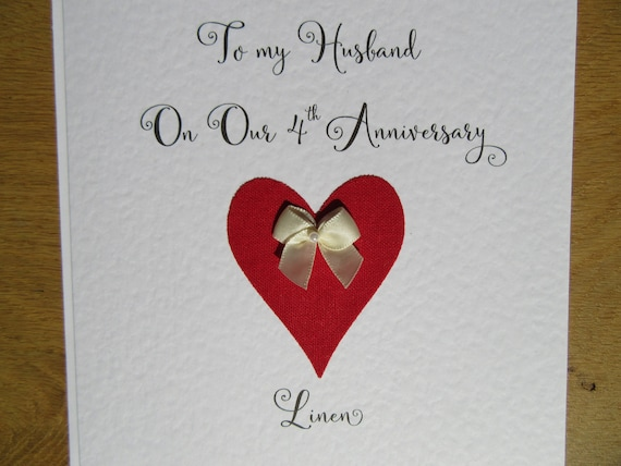 4th wedding anniversary card linen husband four years marriage etsy