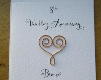 8th Wedding  anniversary card-  eight years-  bronze anniversary-  8 years marriage