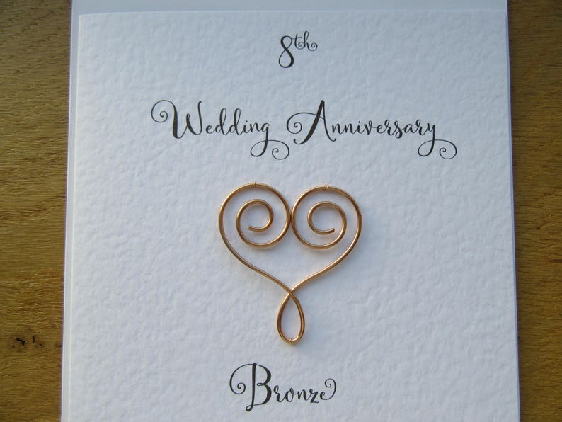 8th Wedding Anniversary.8th Wedding Anniversary Card Eight Years Bronze Anniversary 8 Years Marriage