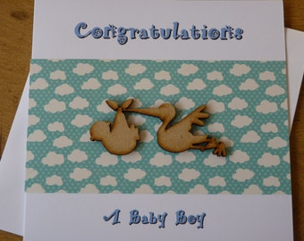 New Baby Boy card -  handmade stork congratulations