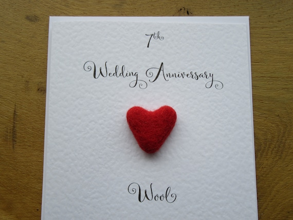 7th Wedding Anniversary.7th Anniversary Card Wool 7 Wedding Anniversary Card Traditional Handmade Gift