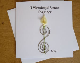 11th anniversary card -  steel - eleven years marriage