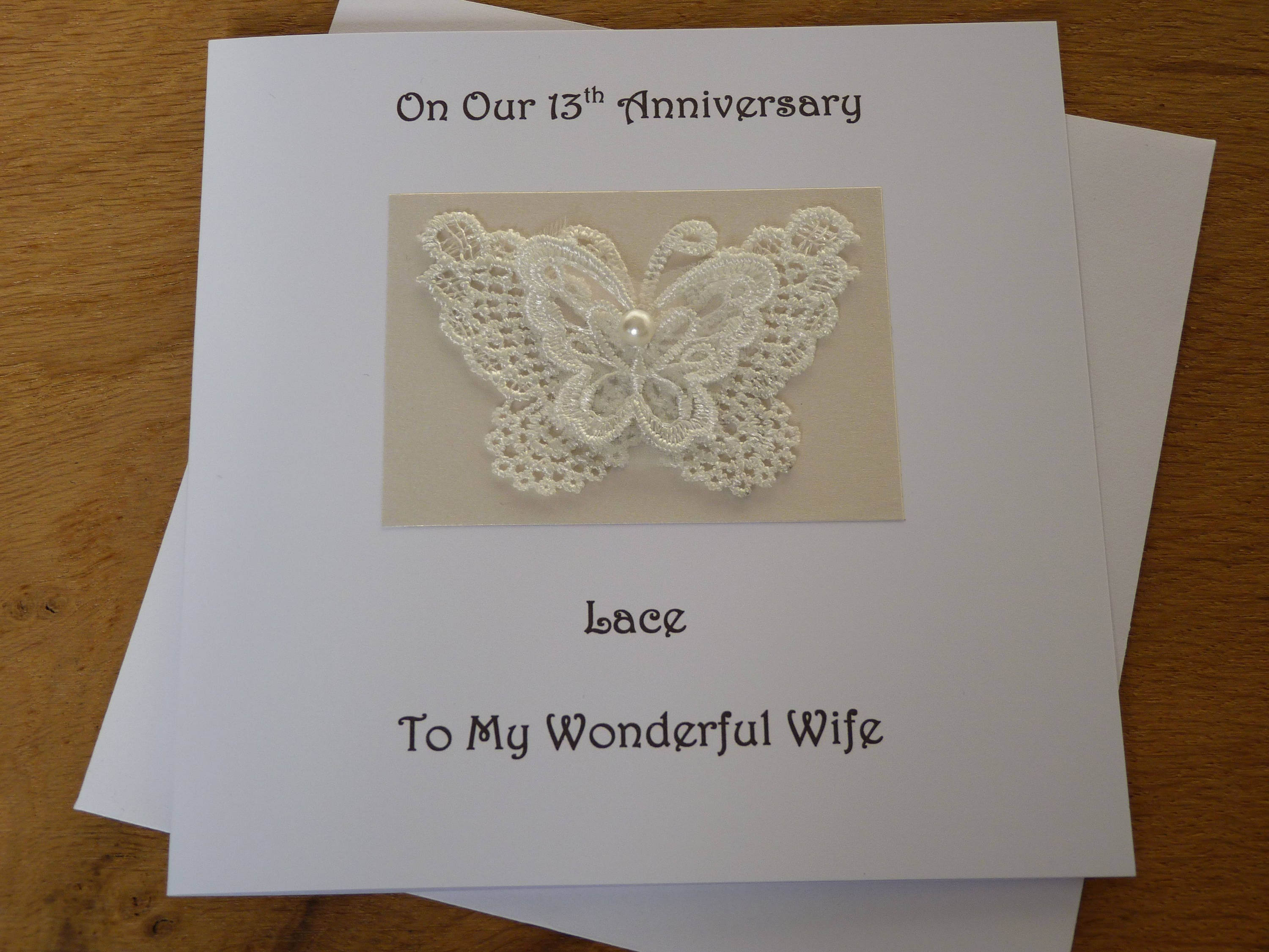 Gift For 13th Wedding Anniversary: 13th Anniversary Card Lace Wedding Anniversary 13 Years