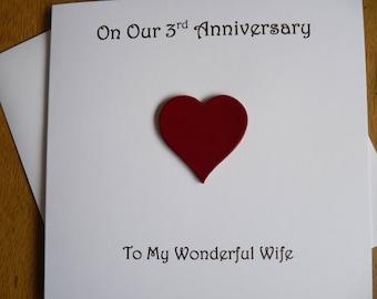 3rd anniversary card leather three years  3rd wedding anniversary gift