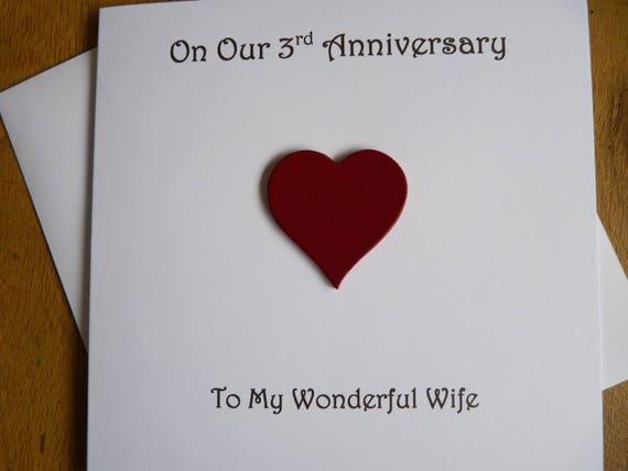 3 Yr Wedding Anniversary Gift: 3rd Anniversary Card Leather Three Years 3rd Wedding