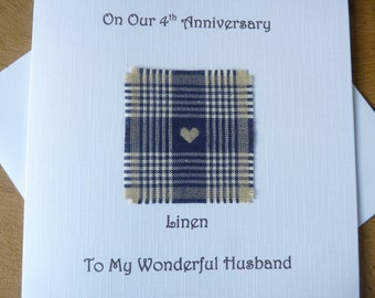 4th wedding anniversary card linen husband four years marriage - 4th anniversary card