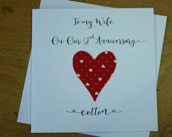 2nd wedding anniversary card cotton 2nd anniversary 2 years marriage keepsake gift husband wife