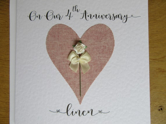 4th wedding anniversary card linen husband wife four years etsy