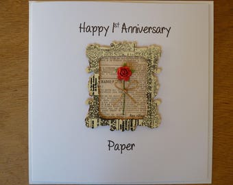 1st wedding anniversary card paper first anniversary - 1st anniversary card