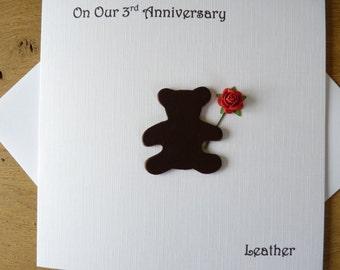 3rd wedding anniversary card three years leather third anniversary