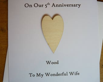 5th wedding anniversary card - 5th anniversary card - card for wife - card for husband- five years - wood  anniversary  - gift