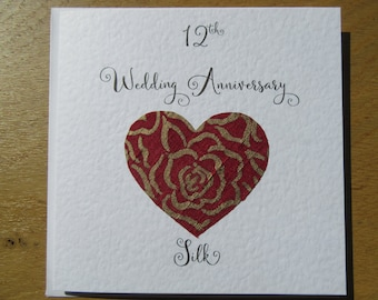 12th anniversary card -silk- twelve years marriage- twelfth wedding - wife - Husband