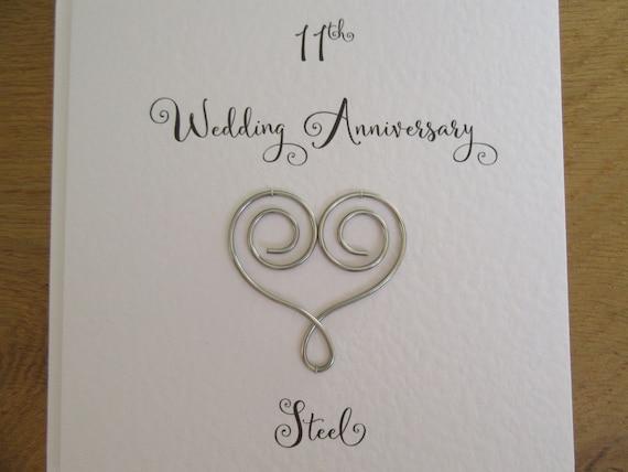 11 Anniversario Di Matrimonio.11esimo Anniversario Di Matrimonio Carta Acciaio Cuore Undici Etsy