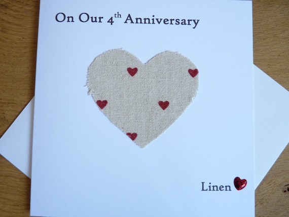 Linen Wedding Anniversary Gifts: 4th Wedding Anniversary Card Linen Husband Wife Four Years
