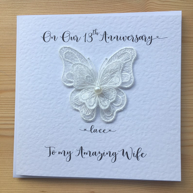 13th anniversary card lace wedding anniversary 13 years  etsy