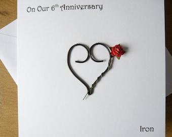 6th wedding anniversary card iron 6 years marriage