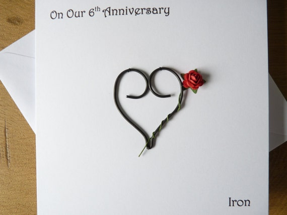 Wedding Anniversary Gifts 6 Years: 6th Wedding Anniversary Card Iron 6 Years Marriage