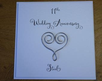 11th wedding anniversary card steel heart eleven years marriage gift