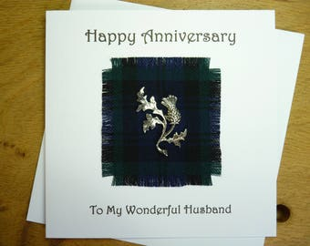 Scottish Anniversary Card - Wedding anniversary card -  Wife - Husband