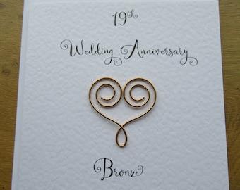 19th Wedding  anniversary card-  Nineteen years-  bronze anniversary-  19 years marriage