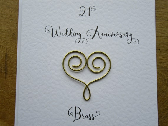 21st Wedding Anniversary.21st Anniversary Card Brass 21 Wedding Anniversary Card Traditional Handmade Gift