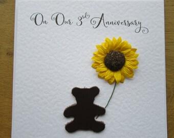 3rd wedding anniversary card - leather - 3rd anniversary - three years - sunflower- teddy bear