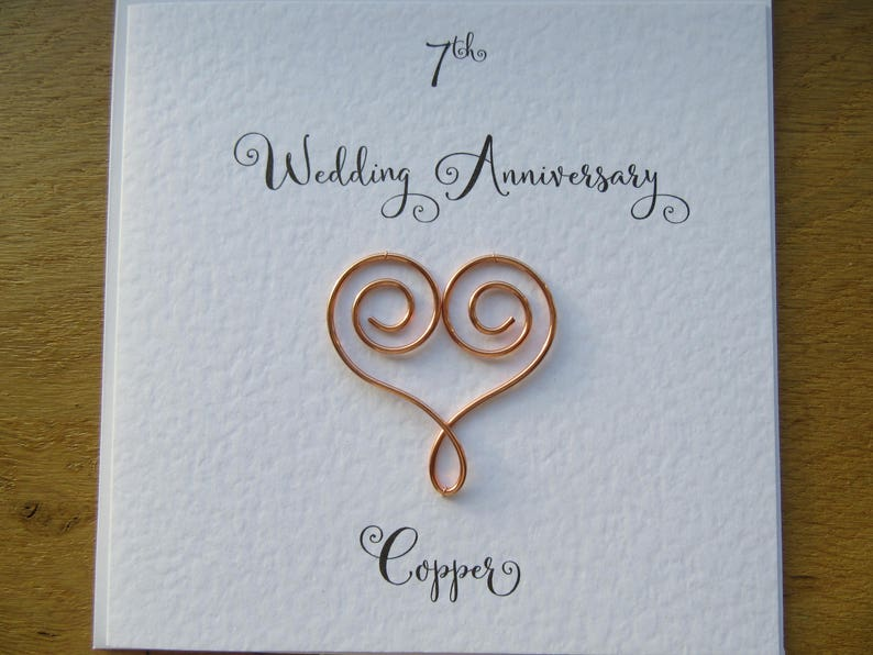 image 0 ... & 7th anniversary card copper 7 wedding anniversary card | Etsy