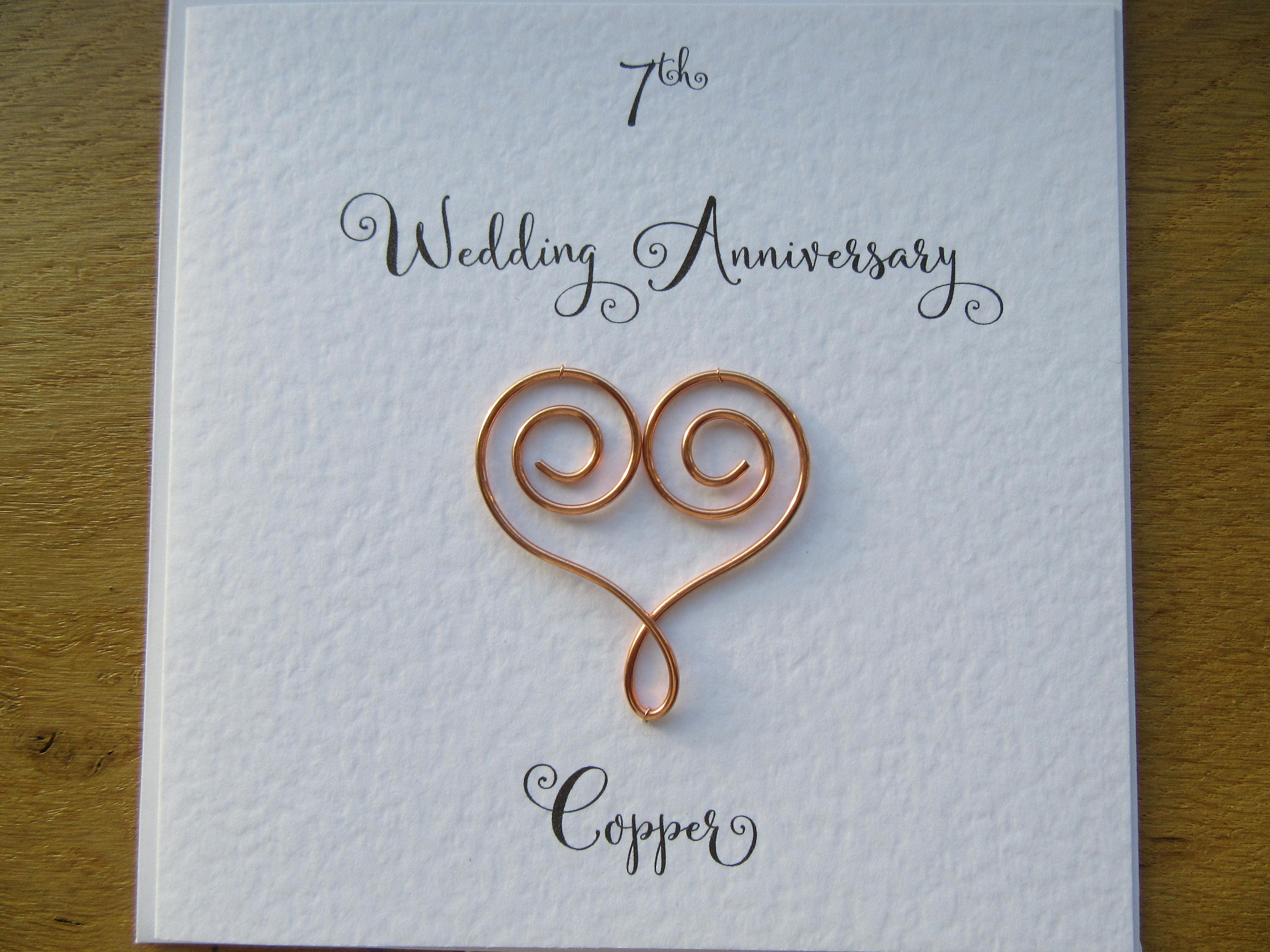 Wedding Anniversary Gifts By Year Uk: 7th Anniversary Card Copper 7 Wedding Anniversary Card