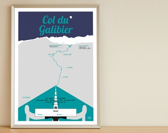 Tour de France print, Col du Galibier, bike poster A4, birthdaypresent
