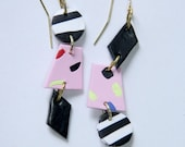SALE ~ Polymer Clay Drop Earrings 80s 90s Black White Striped Pink Dotted Shapes