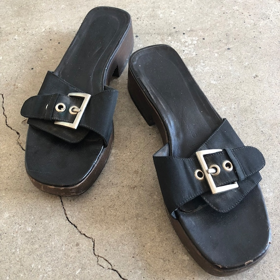 Prada Dr Scholl Style Sandal on Wood Sole with 1.5