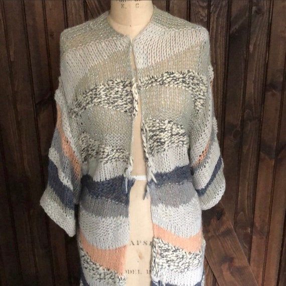 Free People Vintage Boho Chic Crocheted Sweater C… - image 1