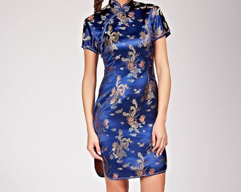 Traditional jacquard collared short dress amount Asian style
