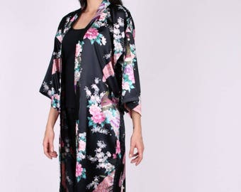 Asian style Peacock pattern silk kimono
