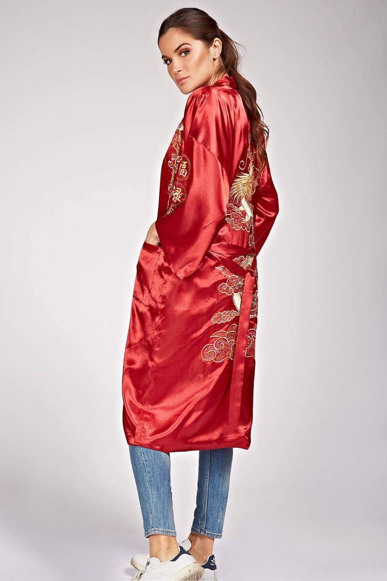 f7b9d749fe7 Asian kimono satin embroidered dragon pattern