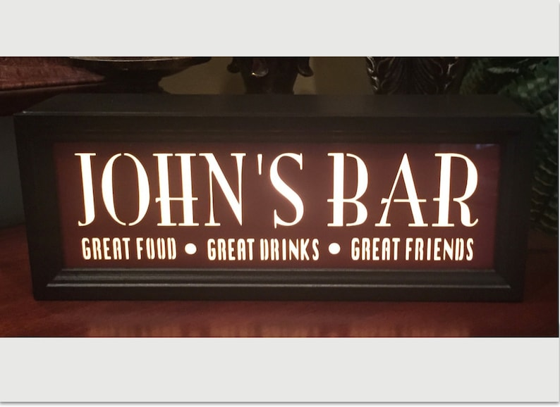 Custom Bar Sign Personalized Bar Sign with Light Game Room image 0