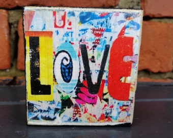 Quirky gift! Send a little love ! Original  Graffiti design by Hidden England hand  printed. Text print . Text on wood