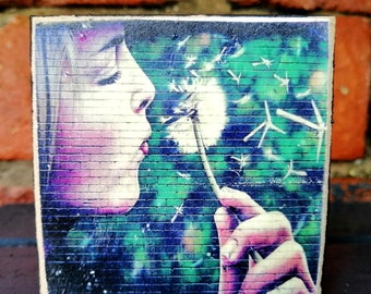 Environmental art. Nature graffiti.Dandelion art. Photo of graffiti handprinted on wood.