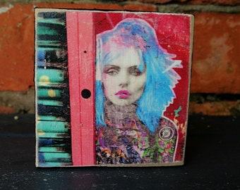 Debbie Harry. Blondie. Debbie Harry art. Music icon. Gift for music fan. 80's music.Print on wooden block