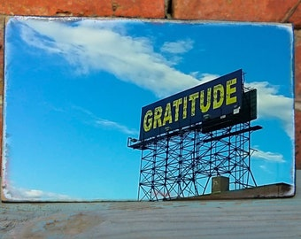 New York print. Gratitude. retro lettering. Photograph of New York. Brooklyn photo. Handprinted on wood