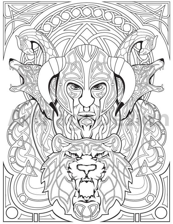 Viking, warrior, Celtic pattern. Coloring pages for adults. Coloring  Printable PDF, JPG.