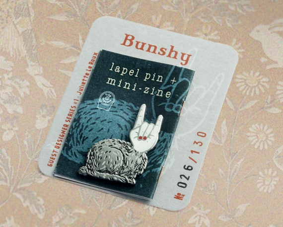 Bunshy lapel pin (shadow theatre bunny)
