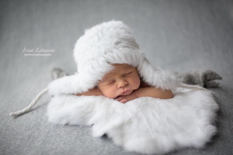b778821f452 Baby Fur Ear Flaps Hat Genuine Rabbit Fur Warm Trapper Bomber