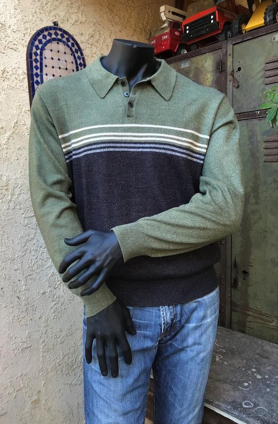 Vintage 90 Dockers camisa de manga larga, punto de rugby estilo urbanista moda tamaño grande, charcole gris y musgo verde colorblock